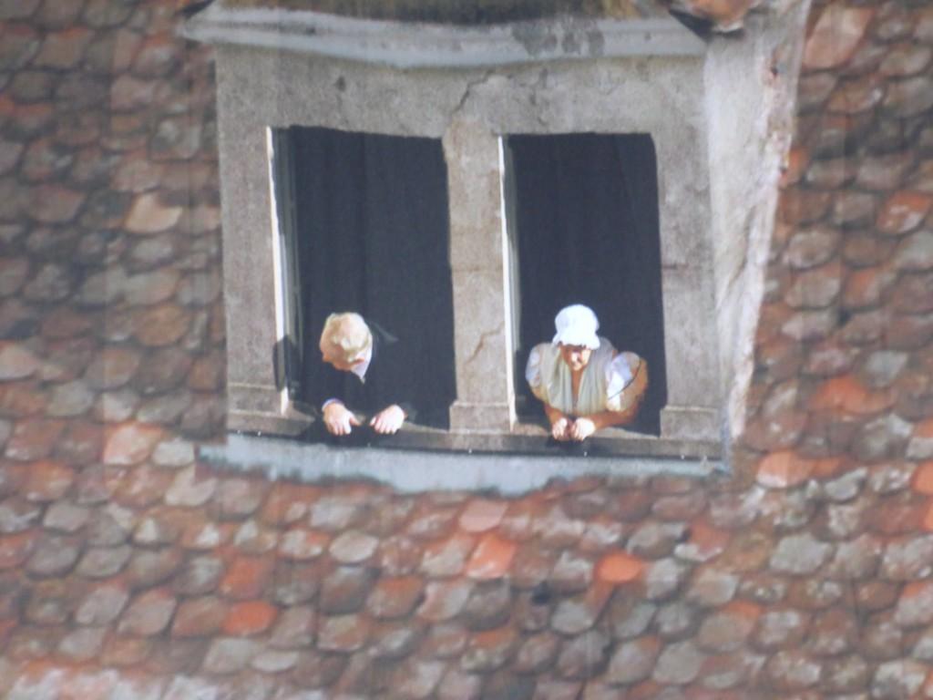 Neugieriges Paar schaut auf die Schlacht in Leipzig, Ausschnitt im Panometer