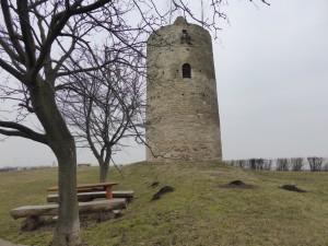 Wachturm vor dem Hünengrab  mit der Dolemgöttin