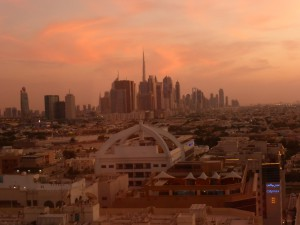 Blick vom Majestic Tower Hotel auf die Skyline von Dubai