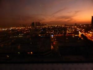 Lichtermeer vor dem Majestic Tower Hotel in Dubai