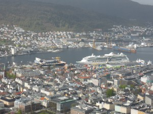 Blick auf Bergen in Norwegen / view on Bergen, Norway