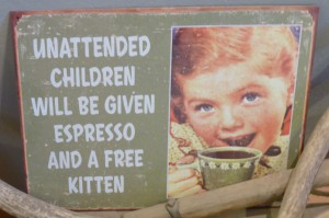 Sign in the café in Chicken