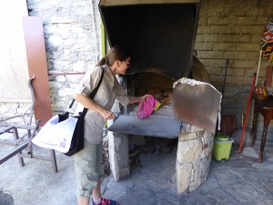fresh bread out of the stone stove