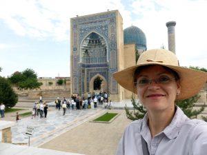 in front ot the Gur-Emir Mausoleum