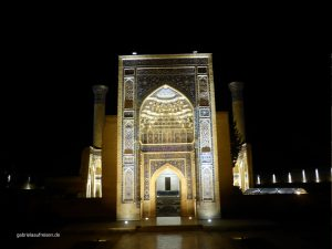 Gur-Emir Mausoleum at night