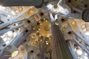 view to the top of the Sagrada Familia