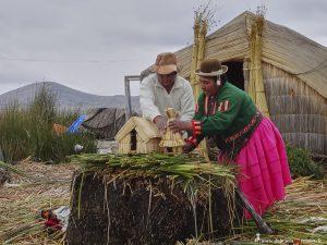 Peru, Schilfinselmodel, Titicacasee, Uru