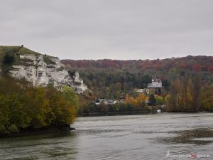 limestone hills at the riverbank of the Seine