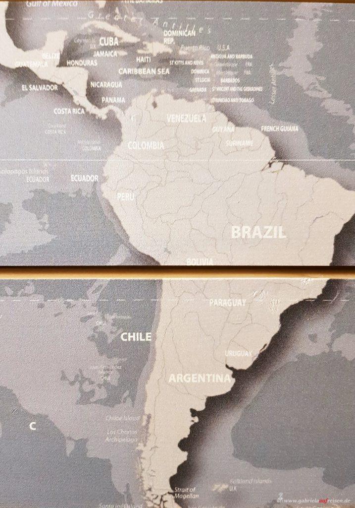 Weltkarte mit Suedamerika und der Karibik